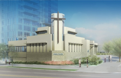 An artist's rendering of the planned new Christ the King Lutheran Church in Surrey.