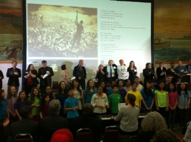 The St. James Music Academy Choir (based in the Downtown Eastside) led the MVA assembly in a rousing version of 'If I Had a Hammer.'