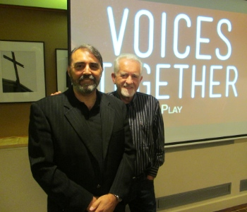 Giulio Gabeli (left) and Dave Carson at the Voices Together lunch at Coastal Church.