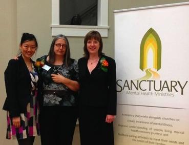 Isabella Mori (centre) with Sanctuary executive director Sharon Smith (right) and Fiona.Choi.