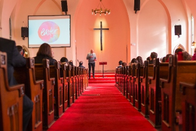 Coastal Church was the first congregation to move into Strathcona Church; Dave Koop preached the first service at Easter.