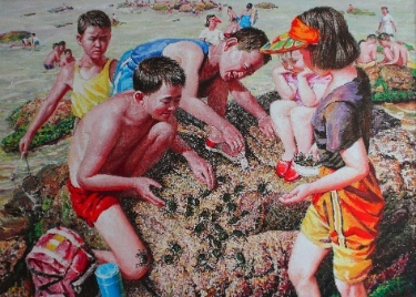 "One of the North Korean paintings on exhibit at Regent. This is a classic image of ""dreams"" of ordinary people, only if they could eat well and have freedom to play . . ."