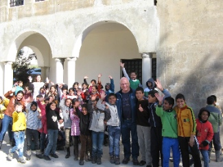 James Grunau with Syrian refugee kids in an informal educational program run by Heart from a church in Lebanon's Bekaa Valley.