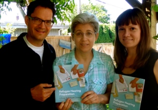 Loren Balisky (left), Fran Gallo (project coordinator), and Andrea Armstrong (illustrator and designer).  Not pictured:  Andrew Kuipers (project manager).