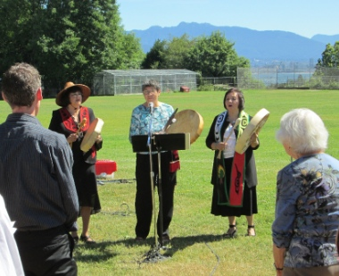 Rev. Mary Fontaine (right) spoke at the West Point Grey Ministerial's 'Worship in the Park' last Sunday. She also performed a Coast Salish song with Ruth Adams Tsawwassen) and Dorothy Visser (Cree).