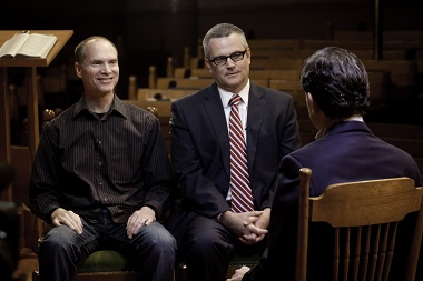 Dan Harris of ABC News interviewed Kevin Palau, President of the Luis Palau Association (left) and  Portland Mayor Sam Adams in 2011.
