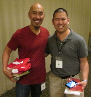 Francis Chan (left) with Clayton Imoo, Director of  the Office of Youth and Young Adult Ministry the Roman Catholic Archdiocese of Vancouver, just before Voices Together.