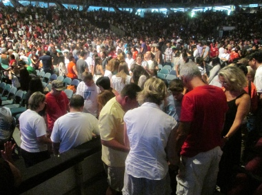 The Pacific Coliseum became a house of prayer during Voices Together.