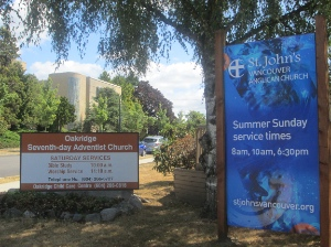 St. John's Vancouver Anglican Church has been sharing a Oakridge Adventist Church's building for several years.