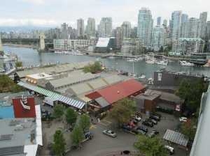 Looking down on Granville Island and across False Creek to the Downtown core from the Granville Street Bridge.