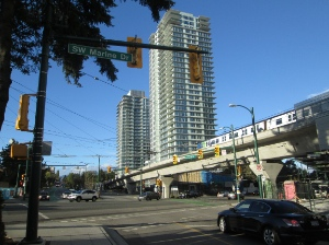 The Marine Gateway project at Marine Drive and Cambie Street is due to be completed this fall.