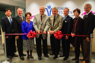 From left: Changxue Yu, Hon. Peter Fassbender, Hon. Alice Wong, Richmond Mayor Malcolm Brodie, TWU President Bob Kuhn, Lorne Jacobson, Hon. Teresa Wat and Wayne Duzita. TWU photo.