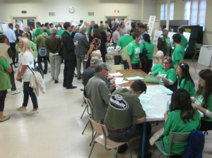 There were a lot of green 'Take a Stand' t-shirts at the open house.