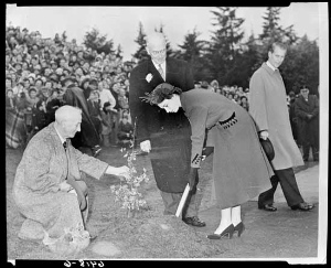 Princess Elizabeth plants a tree at Queen Elizabeth Park arboretum October 20, 1951. (VPL Accession Number: 81687, Art Jones photographer)
