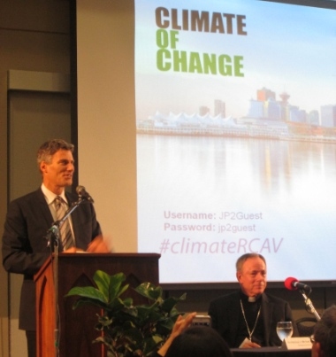 Mayor Gregor Robertson and Archbishop Michael Miller were the main speakers at Climate of Change.
