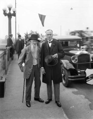 W. J. Brewer (left) was elected the first reeve of South Vancouver in 1892. Here he is see with Mr. Cornett on the Georgia Viaduct in 1927, less than two years before the municipality merged with Vancouver. Photo by Major J.S. Matthews, City of Vancouver Archives AM54-S4-: Port N90.
