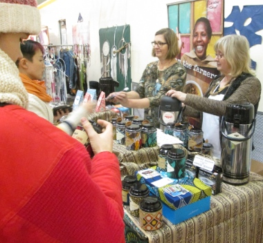 Grace Bain (left) and Nova Leaf selling JusTea products at Strathcona Fair November 28. Sales were brisk with Christmas approaching.