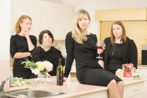 The full cast of Common Grace: Julie Lynn Mortensen (left), Kerri Norris, Shauna Johannesen and Cara Cunningham. Photo by Emily Cooper.