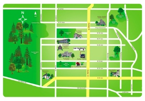 This map from the Dunbar Life site depicts the area in shades of green.