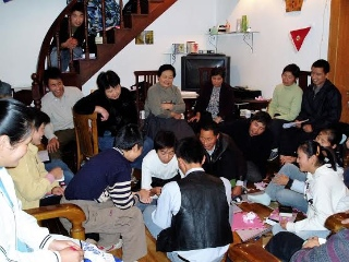 Christians meeting in a home.