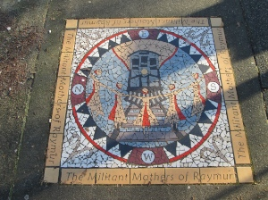 Sidewalk art commemorating the 'militant mothers of Raymur,' who in 1971 demonstrated to protect their children from trains on the 1000 block of Pender Street.