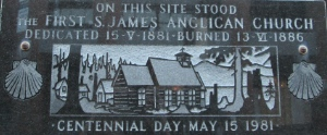 This plaque marks where St. James Anglican Church was first built. It is on a building on Alexander, just west of Main. St. James in now on Cordova, two blocks east of Main.