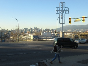 Looking north over part of Strathcona from Clark and 6th / Great Northern Way.