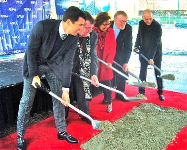 Breaking the ground for Central Presbyterian's new building. From left: Bosa Properties CEO Colin Bosa, board of trustees chair Gillan Jackson, Vancouver Centre MP Hedy Fry, Rev. Jim Smith, and architect Gregory Henriquez. Photo by Frank Stirk.