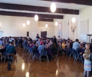 Almost 90 Syrian refugees from the 2400 Motel enjoyed a meal and friendship at First CRC on Easter Monday.