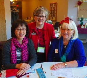 Teachers Margaret Chen, Jo-Ann Matiachuk and Ruth Mukai at the annual Christmas Conversation Cafe.