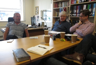 We met with Andy Hawthorne in his office shortly after arriving. Ray Bakke and Jonathan Bird pictured with him.