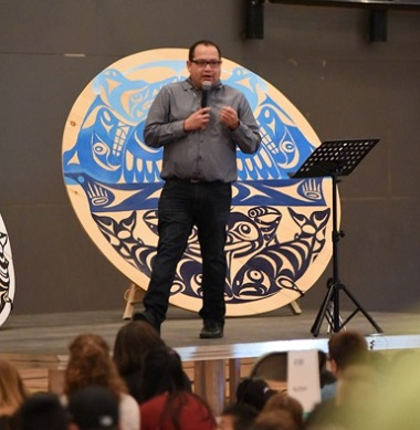 "Kwantlen First Nations artist Brandon Gabriel said, ""I've never felt so welcome in someone's home as I have here,"" at Surrey Christian School."