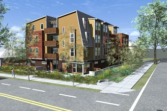 An artist's rendering of the Co:Here building planned for 1st and Victoria.