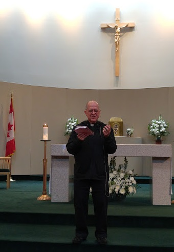 "Fr. Gabriel de Chadarevian reminded those assembled of the words of Archbishop Michael Miller, who on October 14 sent out a release warning that ""Vancouver could become a global hub for sexual slavery."" Paul Schratz photo."
