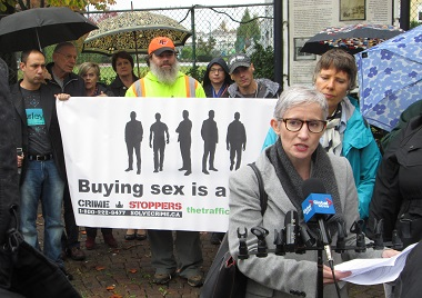 Gwendoline Allison made a presentation at the Trafficked Human press conference / rally October 18.