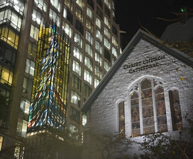 Renowned glass artist Sarah Hall designed the newly completed bell spire at Christ Church Cathedral.