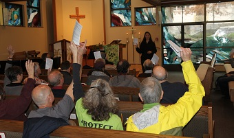 This worship service took place at Spirit of Life Lutheran Church before the march.