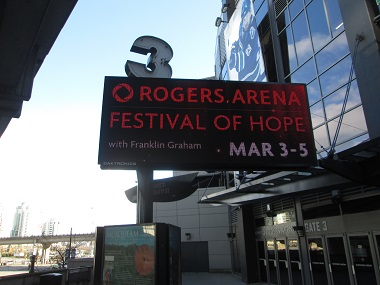 Rogers Arena will be home to the Festival of Hope for three days next week.