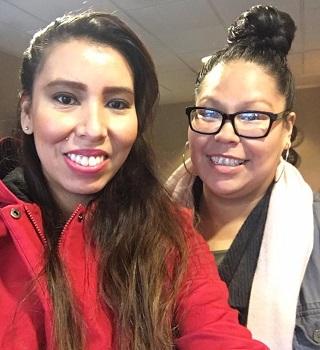 Fawnda Bullshields (left) went to the Festival with her youth group. Her friend Tessa Saddleback attended as well.