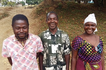 Three of the rehabilitated workers: Medison Manyuka, Pius Magwira and Theresia Mlungamo.