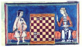 Muslim and Christian Women Play Chess, El Libro de los Juegos, commissioned by Alphonse X of Castile, 13th century. Madrid, Escorial Library.