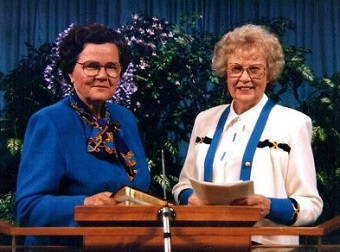 Gerard, left, sharing the Fraserview Assembly pulpit/podium with her long time ministry associate, Velma Chapman.