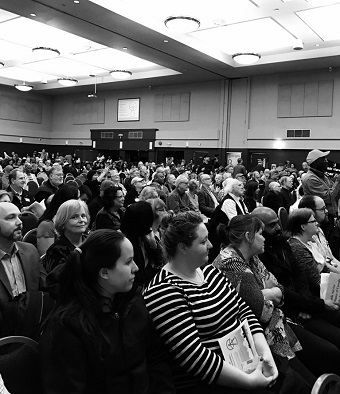 Hundreds of delegates from faith, union, community and educational groups took part in MVA's Provincial Election Accountability Assembly.