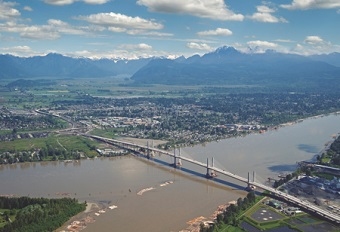 The Golden Ears Bridge links Maple Ridge and Langley.